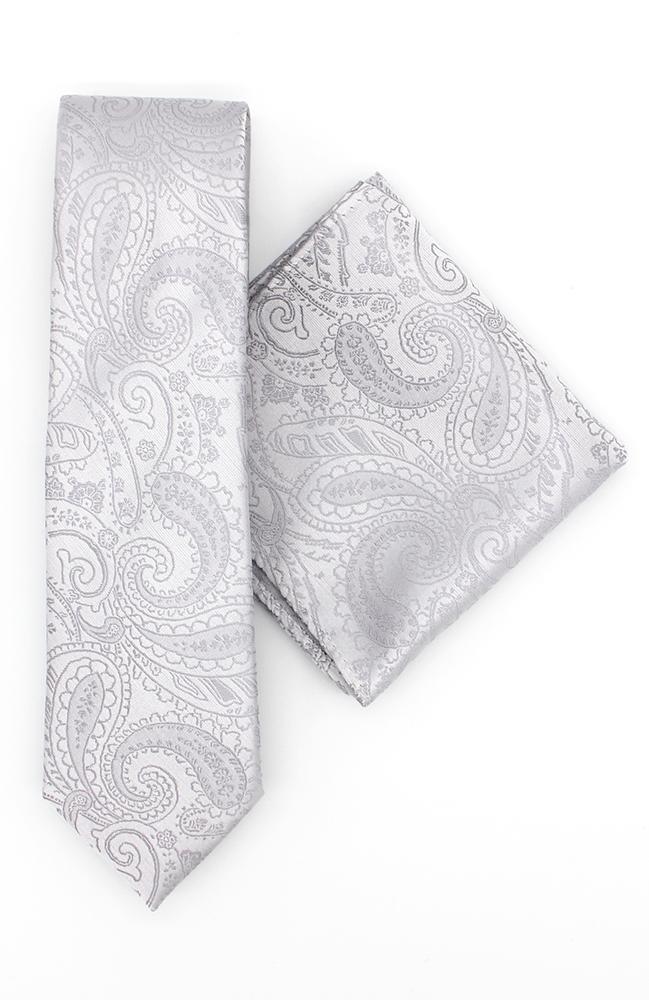 Silver-Paisley Wedding Tie-Set Hire
